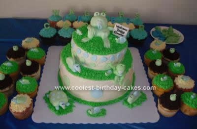 Homemade Baby Shower Frog Cake