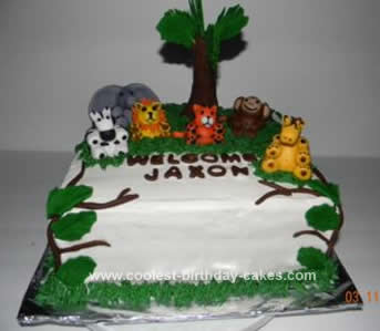 Homemade Baby Shower Jungle Cake
