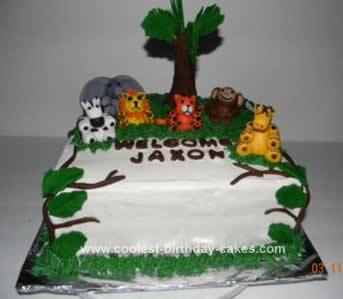 Homemade Baby Shower Jungle Cake