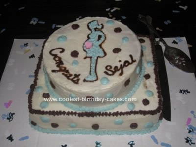 Homemade Baby Shower Mommy Silouette Cake