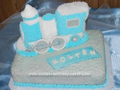 Homemade Baby Shower Train Cake