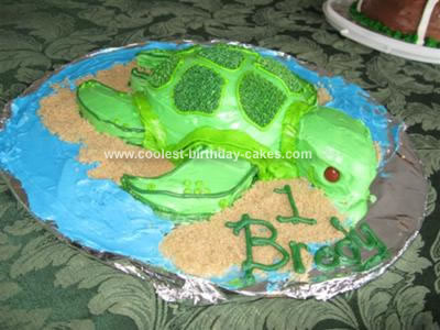 Homemade Baby Turtle Cake
