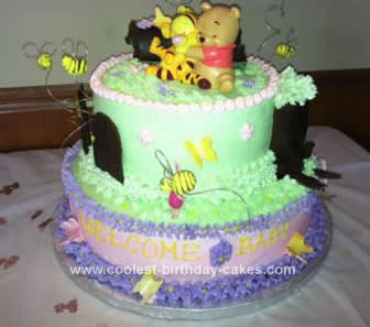 Homemade Baby Winnie The Pooh Shower Cake