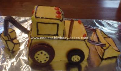 Homemade Backhoe Cake