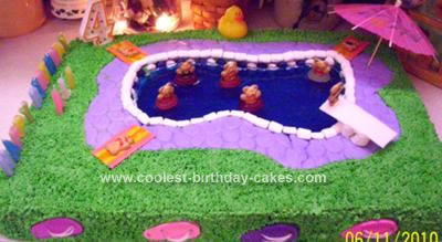 Homemade Backyard Pool Party Birthday Cake