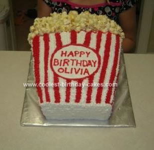 Homemade Bag of Popcorn Birthday Cake