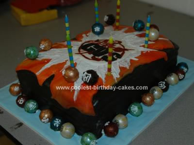 Homemade Bakugan Card Cake with lots of Bakugan Balls