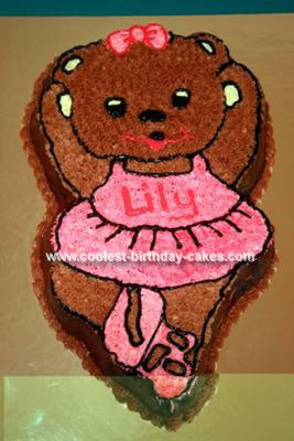 Homemade Ballerina Bear Birthday Cake