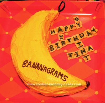 Homemade Bananagrams Cake
