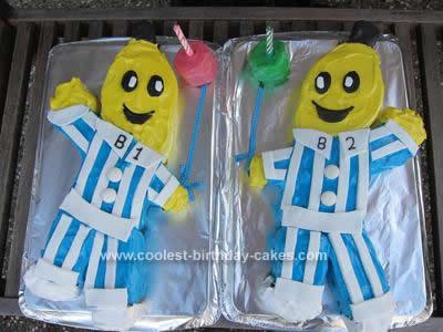 Homemade Bananas in Pajamas Birthday Cake