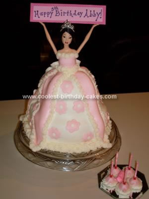 Awe Inspiring Cute Homemade Pink And White Barbie Birthday Cake With A Happy Funny Birthday Cards Online Aeocydamsfinfo