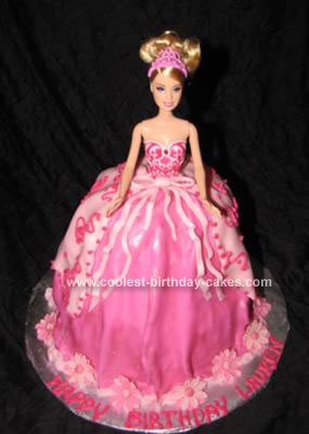 Super Pretty Homemade Pink Barbie Dress Birthday Cake Funny Birthday Cards Online Barepcheapnameinfo