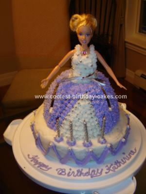 Outstanding Cool Homemade Purple And White Barbie Doll Birthday Cake Personalised Birthday Cards Arneslily Jamesorg