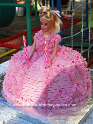 Sweet Homemade Barbie Doll Birthday Cake With Piped Pink Buttercream