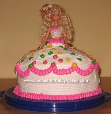 Terrific Easy Homemade Barbie Doll Cake With Skittles Funny Birthday Cards Online Barepcheapnameinfo