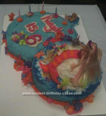 Homemade Barbie Mermaid Birthday Cake