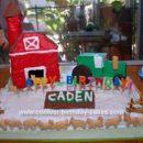 Homemade Barn and Tractor Birthday Cake