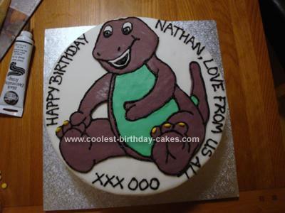 Homemade Barney Birthday Cake