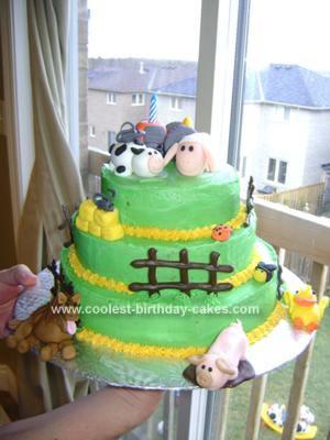 Homemade Barnyard Birthday Cake