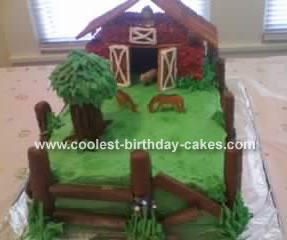Sweet Homemade Barnyard Cake With Twix Fence