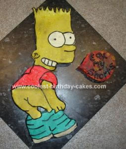 Homemade Bart Simpson Birthday Cake