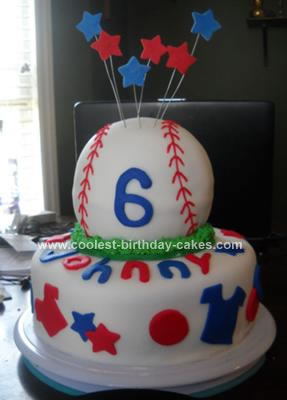 Red And Blue Baseball Cake