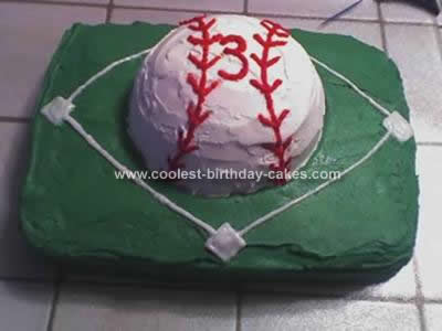 I Made This Baseball Birthday Cake For My Sons 3rd At His Preschool Baked A 13 X 9 And Small Round Bowl