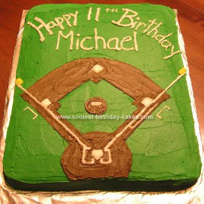 Homemade  Baseball Field Birthday Cake