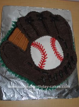 Homemade Baseball Mitt Birthday Cake