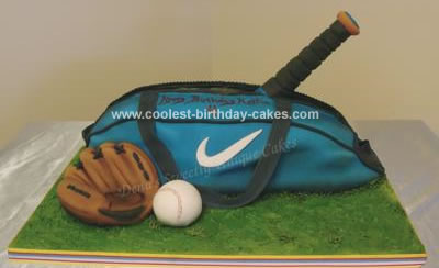 Homemade Baseball Sports Bag Cake