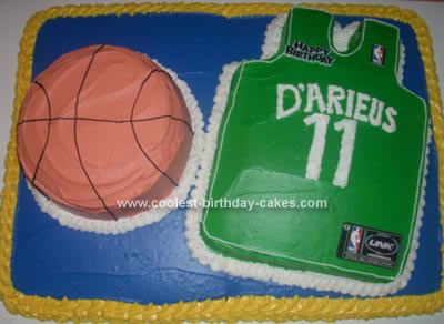 Homemade Basketball Jersey And Ball Birthday Cake