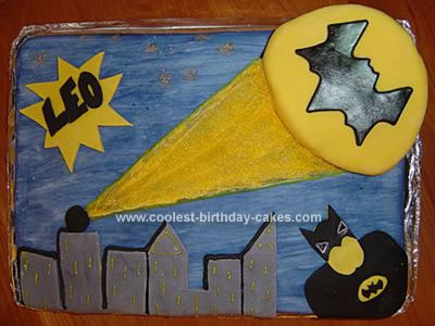 Homemade Batman and Batsignal Cake