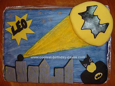 Homemade Batman and Batsignal Cake