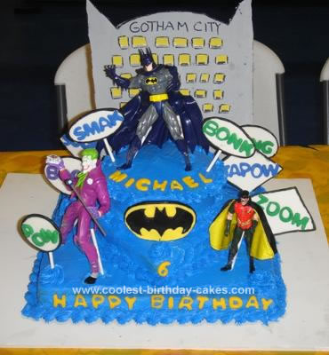 Homemade Batman and Robin to the Rescue Birthday Cake