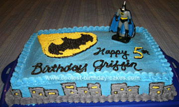 Cool Cool Homemade Batman Birthday Cake With Batman Figurine Personalised Birthday Cards Veneteletsinfo