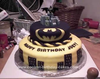 Cool Homemade Black And White Batman Birthday Cake Design