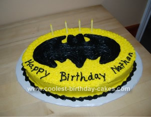 Homemade Batman Emblem Birthday Cake