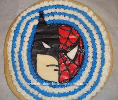 Homemade Batman Spiderman Cookie Cake Idea