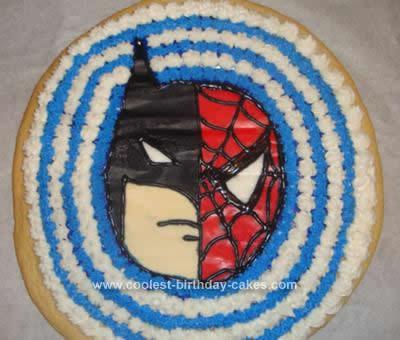 Homemade Batman Spiderman Cookie Cake Idea