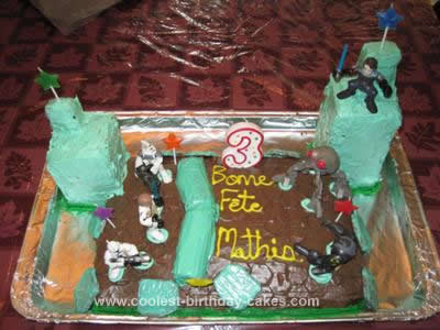 Homemade Battle of Christophsis Clone Wars Birthday Cake Design