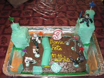 Homemade Battle of Christophsis Clone Wars Birthday Cake Design