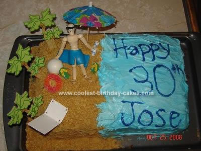Cool Homemade Beach Birthday Cake For My Husbands 30th