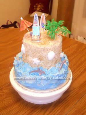 Homemade Beach Birthday Cake