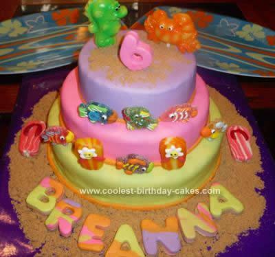 Homemade Beach Luau Birthday Cake