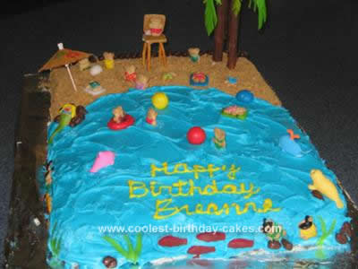 Homemade Beach Scene Birthday Cake