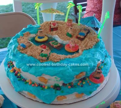 Cool Homemade Beach Theme Birthday Cake