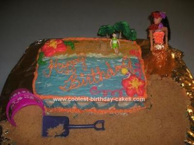 Homemade Beach Themed Birthday Cake