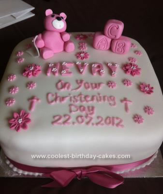 Homemade Bear Christening Cake