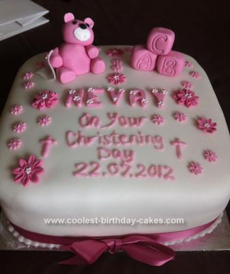 Homemade Bear Christening Cake