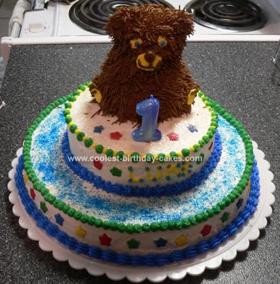 I Made This Beary First Birthday Cake For My Friends Little Boys Pretty Simple To Do Two Different Round Layers And The Small Bear Pan